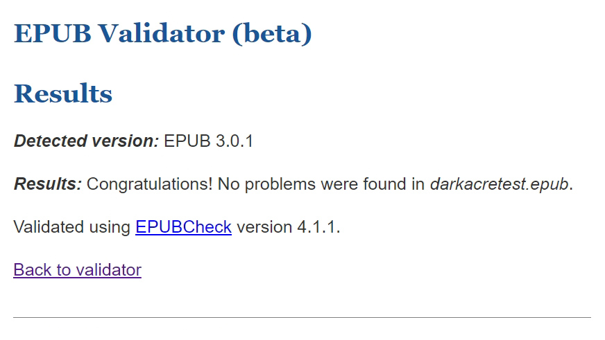 successful verification of an epub structure