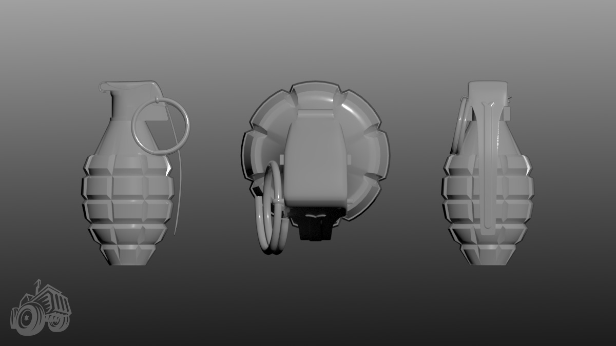 Front, top, and left views of an untextured low poly model of a hand grenade