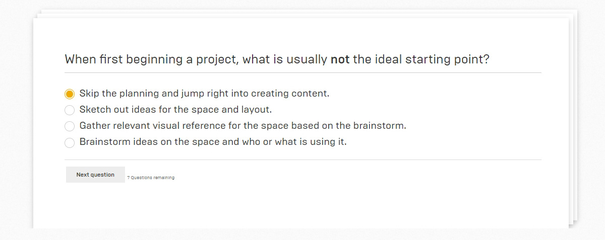 quiz question from unreal engine learning path
