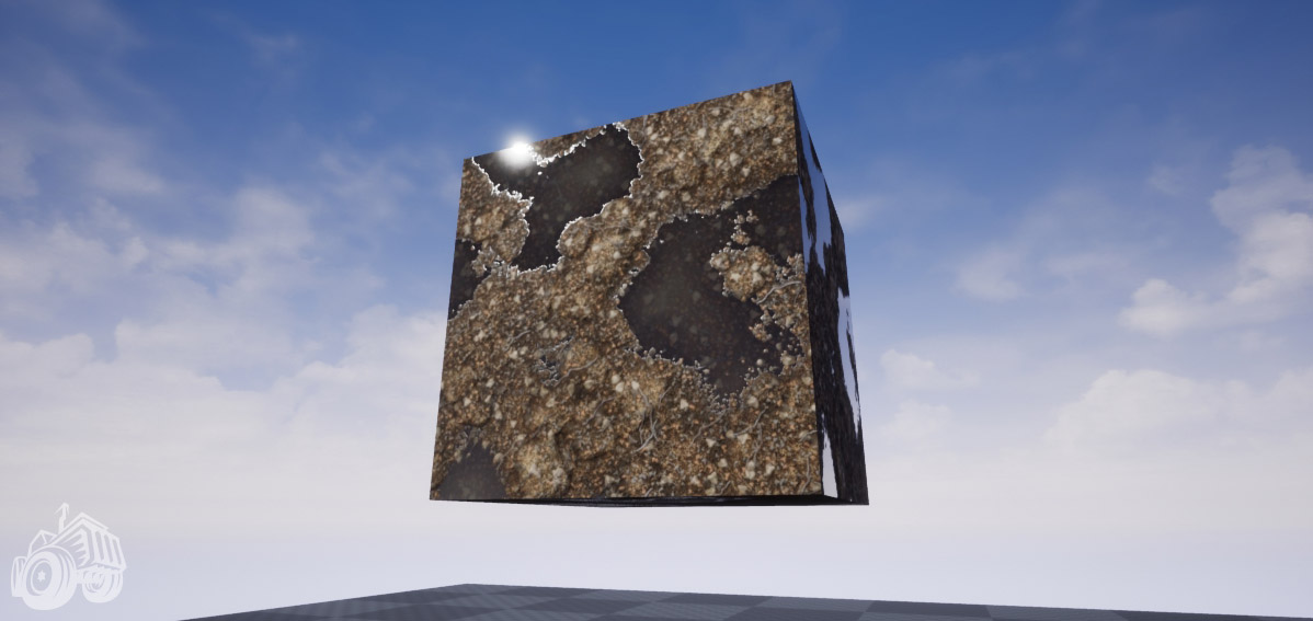 textured cube with dirt and water, rendered in unreal engine 4